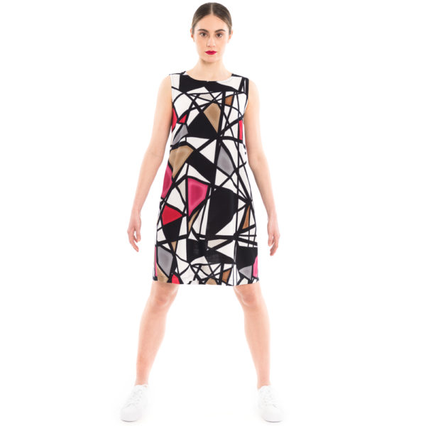 Sommerkleid mit auffälligem geometrischem Print aus Viskose von ulliKo