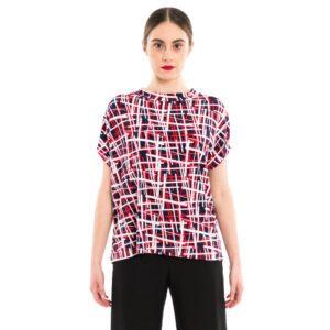 Viskose Shirt aus blau-rot-weiß Viskose Print